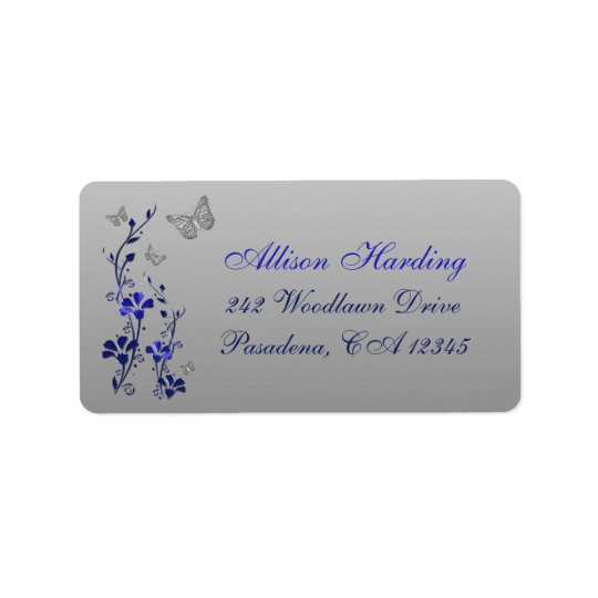 Blue, Silver Grey Butterfly Floral Return Address Address Label