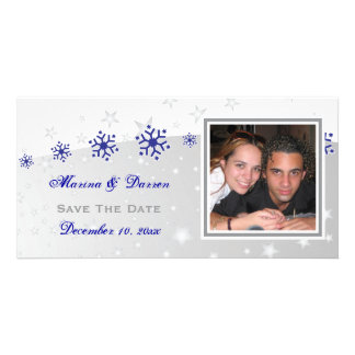Blue, silver grey snowflake wedding Save the Date Card