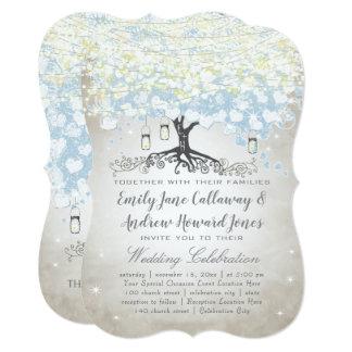 Blue & Silver Heart Leaf Tree Woodsy Boho Wedding Card