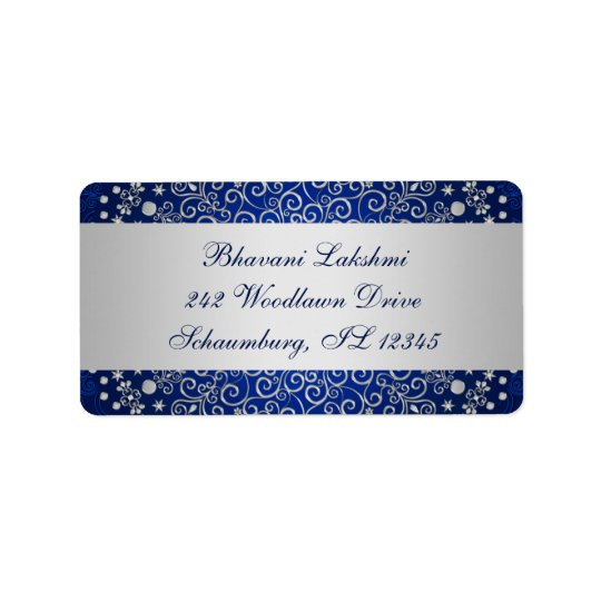 Blue Silver Intricate Scrolls Return Address Label