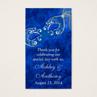 Blue Silver Masquerade Ball Wedding Favour Tags