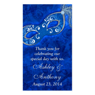 Blue Silver Masquerade Ball Wedding Favour Tags Double-Sided Standard Business Cards (Pack Of 100)