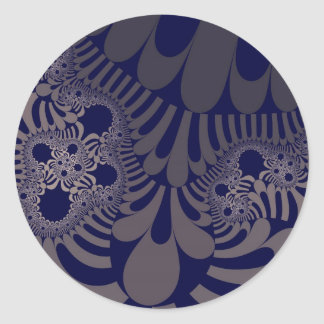 Blue Silver Mod Large Round Stickers
