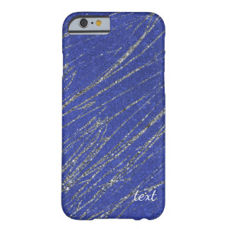 Blue & Silver Modern Glam Marble Stripe Designer Barely There iPhone 6 Case