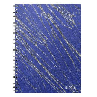 Blue & Silver Modern Glam Marble Stripe Designer Notebook