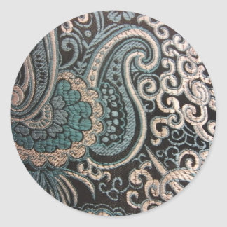 Blue & Silver Paisley Brocade Classic Round Sticker
