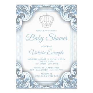 Blue Silver Prince Baby Shower Invitations