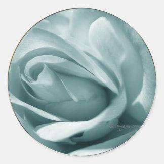 Blue Silver Rose Envelope Wedding Seal Round Sticker