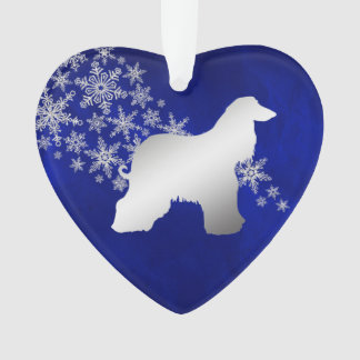 Blue Silver Snowflake Afghan Hound Ornament