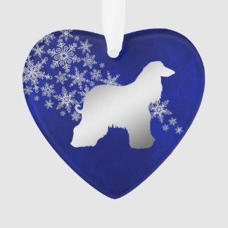 Blue Silver Snowflake Afghan Hound Ornament