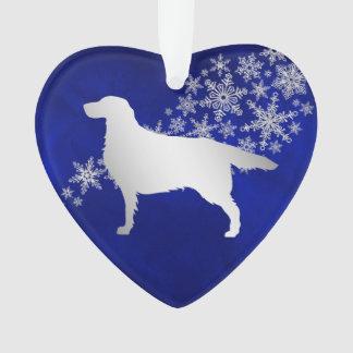 Blue Silver Snowflake Setter Dog Ornament