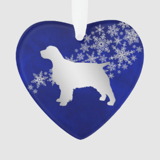 Blue Silver Snowflake Spaniel Ornament