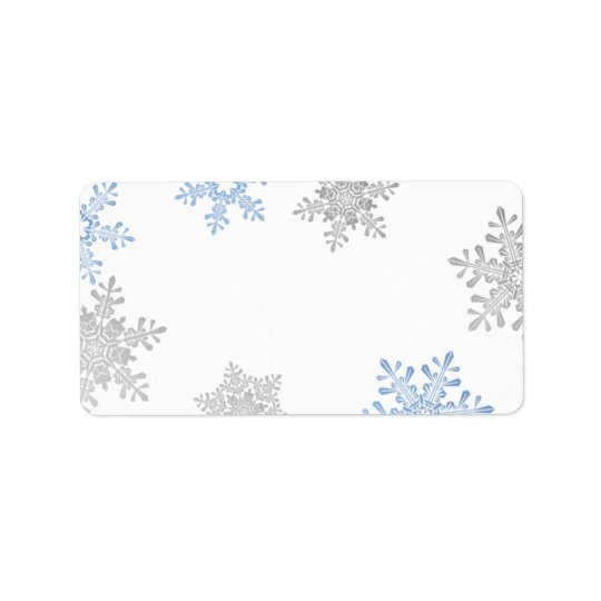 Blue Silver Snowflake Wedding Blank Address Labels