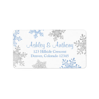 Blue Silver Snowflake Wedding Return Address Label