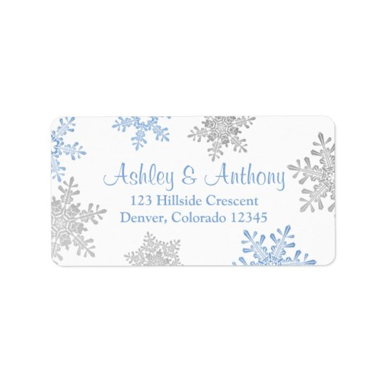 Blue Silver Snowflake Wedding Return Address Label