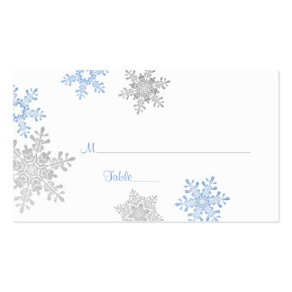 Blue Silver Snowflake Winter Wedding Place Cards Business Cards