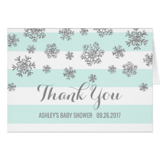Blue Silver Snowflakes Baby Shower Thank You Card