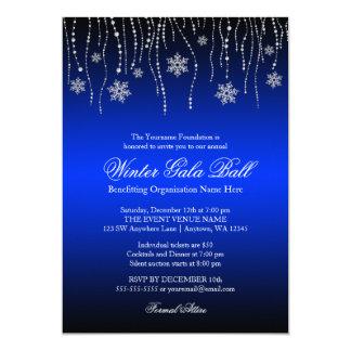 Blue Silver Snowflakes Gala Ball Invitations