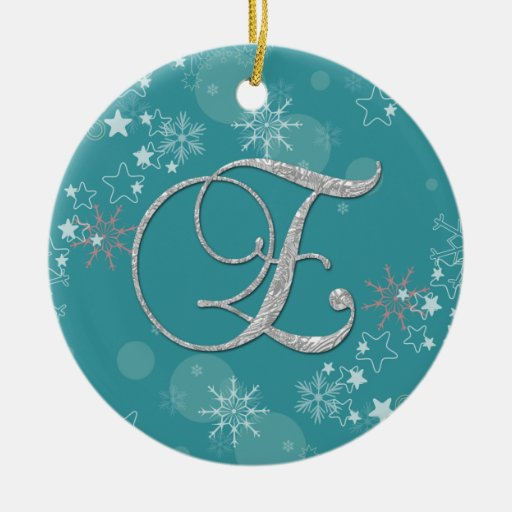 Blue Silver Snowflakes Stars Initial E Christmas Christmas Tree Ornaments