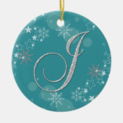 Blue Silver Snowflakes Stars Initial J Christmas Ornament