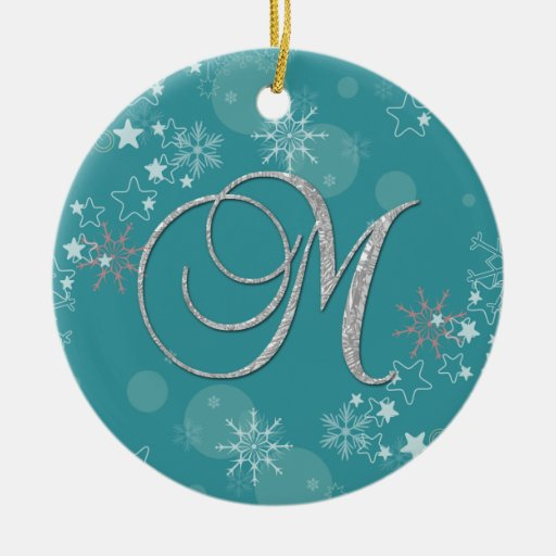 Blue Silver Snowflakes Stars Initial M Christmas Ornament