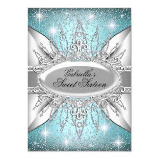 "Blue & Silver Sparkle Diamond Sweet 16 Invite 4.5"" X 6.25"" Invitation Card"