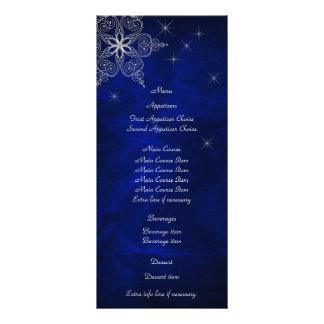 Blue Silver Star Snowflake Wedding Menu Rack Card