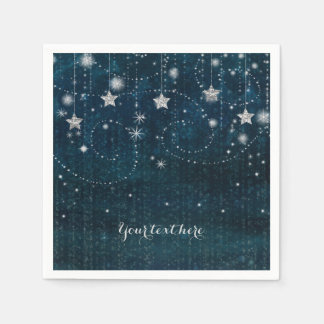 Blue & Silver Starry Celestial Whimsical Party Paper Serviettes