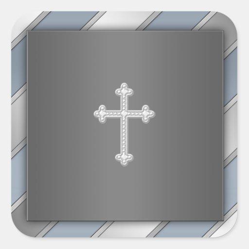 Blue Silver Stripe Cross Christian Envelope Seal Stickers