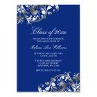 Blue Silver Swirl Graduation Party Announcement