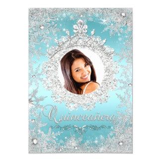 "Blue Silver Tiara Snowflake Sparkle Quinceanera 5"" X 7"" Invitation Card"