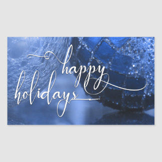 Blue, Silver & White Happy Holidays Greeting Rectangular Sticker