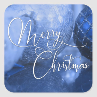 Blue, Silver & White Happy Holidays Greeting Square Sticker