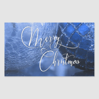 Blue, Silver & White Merry Christmas Greeting Rectangular Sticker