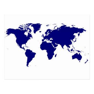 Blue & Simple World Map Postcard