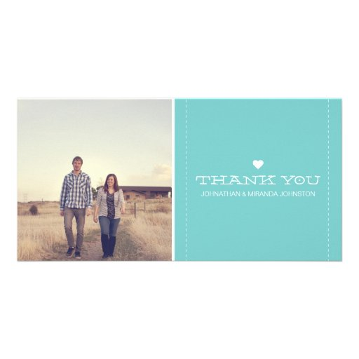 Blue Simply Chic Photo Wedding Thank You Cards Photo Card Template