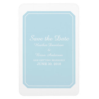 Blue Simply Elegant Save the Date Magnet