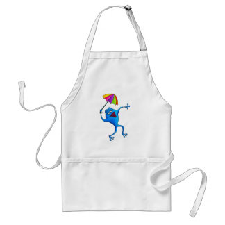 Blue Singing Frog with Umbrella Apron