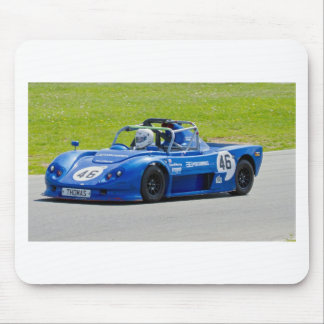 Blue single seater race car mouse pad