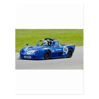 Blue single seater race car postcards
