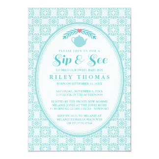 Blue Sip & See Tea Party Invitation
