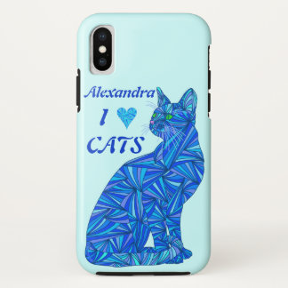 Blue Sitting Cat ifonx I Heart Cats Personalised iPhone X Case