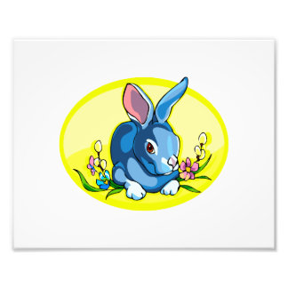 blue sitting rabbit flowers yellow oval.png photo print