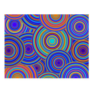 Blue Sixties Circles Pattern Postcard