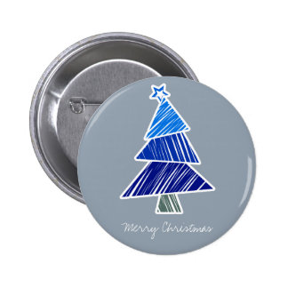 Blue Sketchy Christmas Tree Button