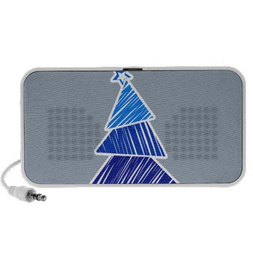 Blue Sketchy Christmas Tree Doodle Speakers