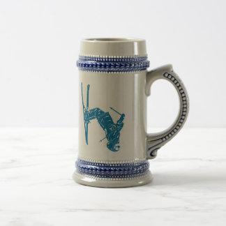 Blue-Skier Beer Stein