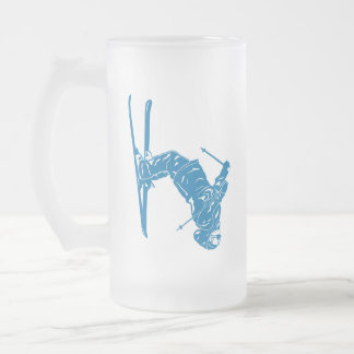 Blue-Skier Frosted Glass Beer Mug