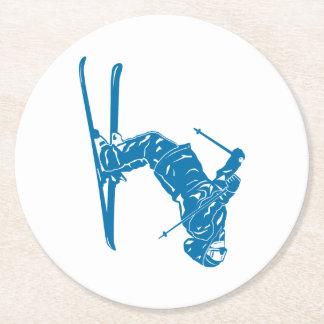 Blue-Skier Round Paper Coaster