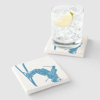 Blue-Skier Stone Coaster
